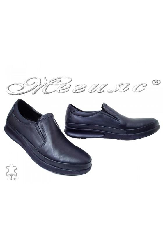 Мъжки обувки Фантазия 042-81 сини от естествена кожа