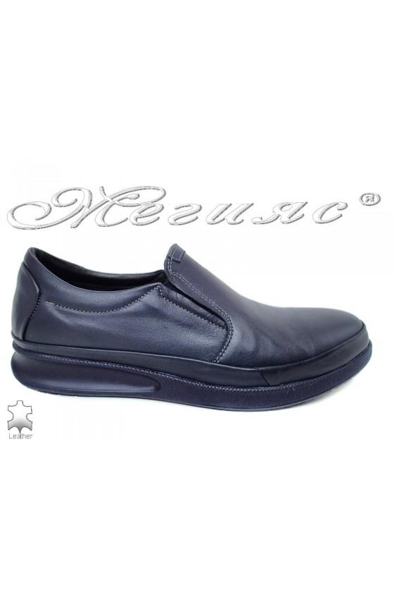 Men's shoes 042-81 dark blue leather