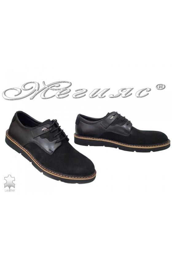 Мъжки обувки Фантазия 526 черни велур с естествена кожа