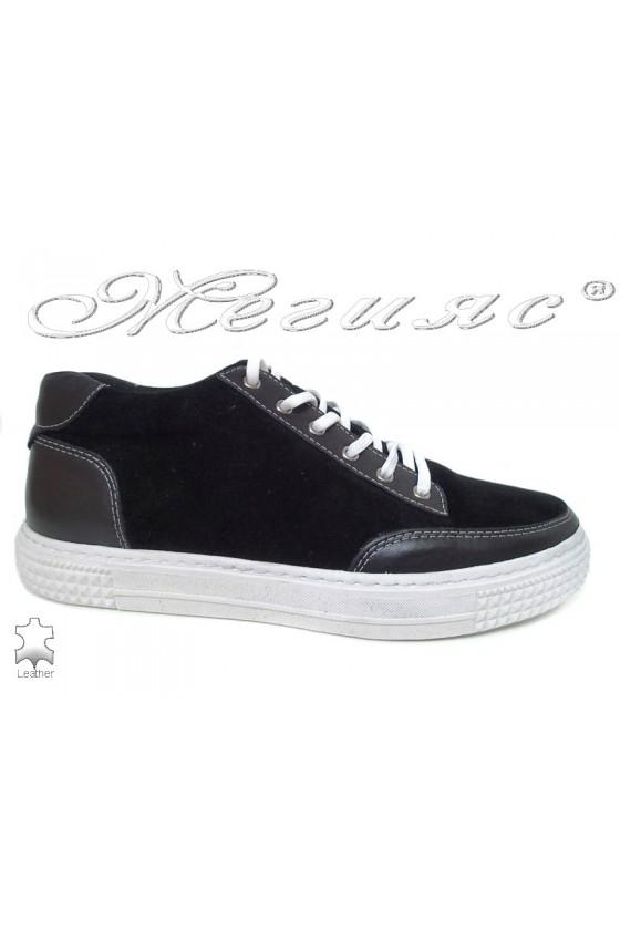 Men's sport boots 0051 black suede leather