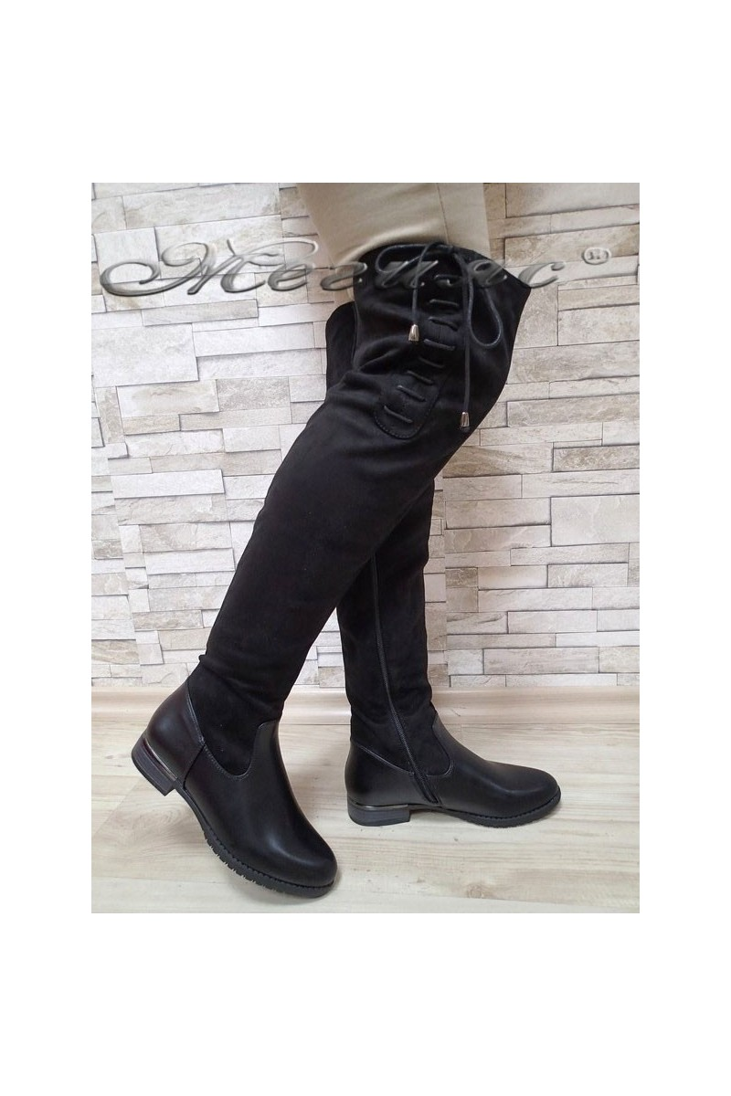 Дамски ботуши Cassie 20W17-59 черни от еко велур тип чизми