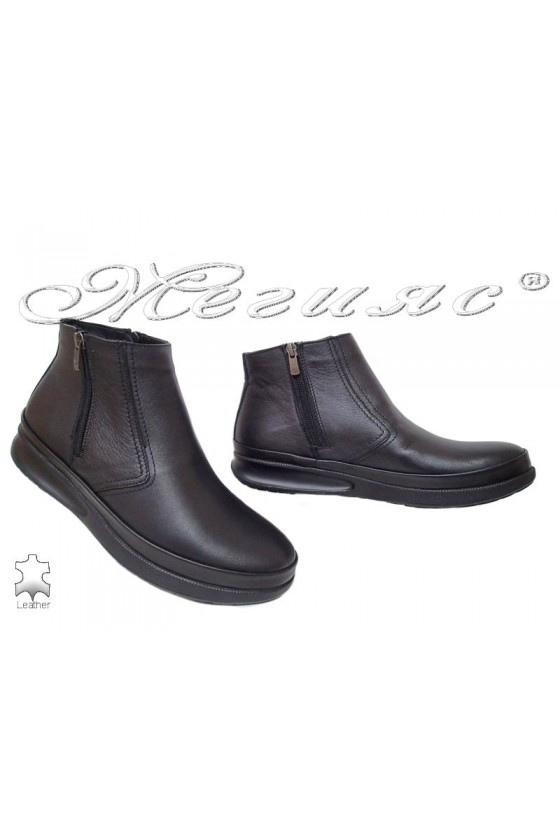 Men's boots 071-80 black leather