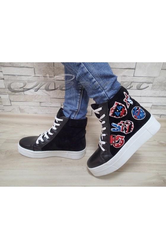 Lady sport boots 301 black pu