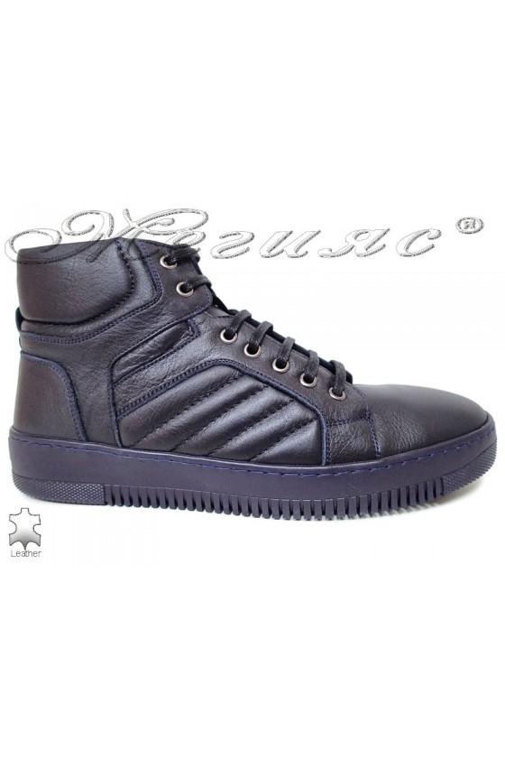 Men's sport boots 101 blue  leather