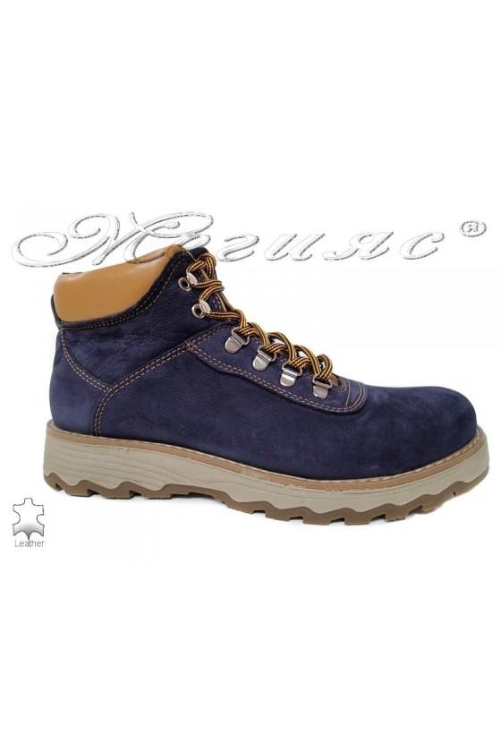 Men's boots 10/510 blue leather