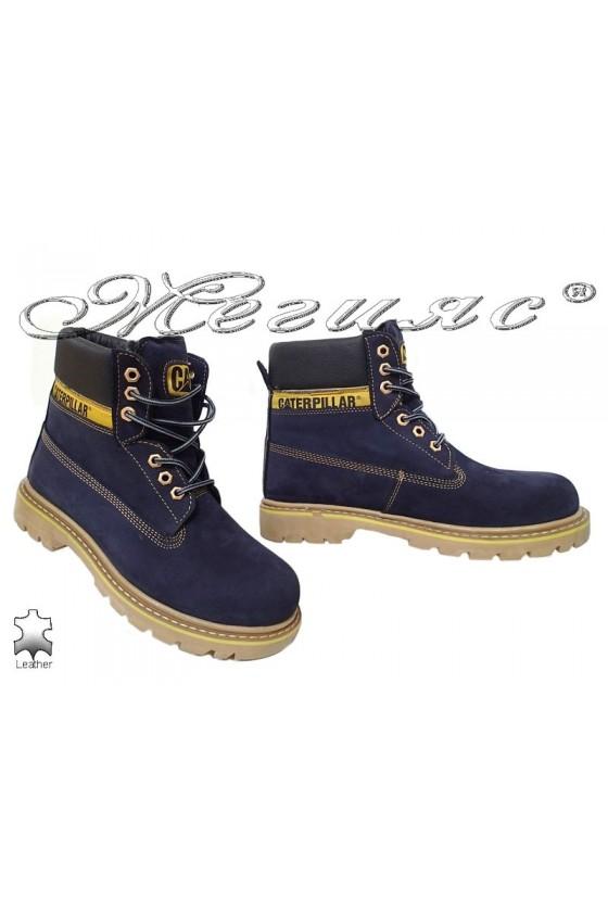 Men's boots 04 CAT blue leather