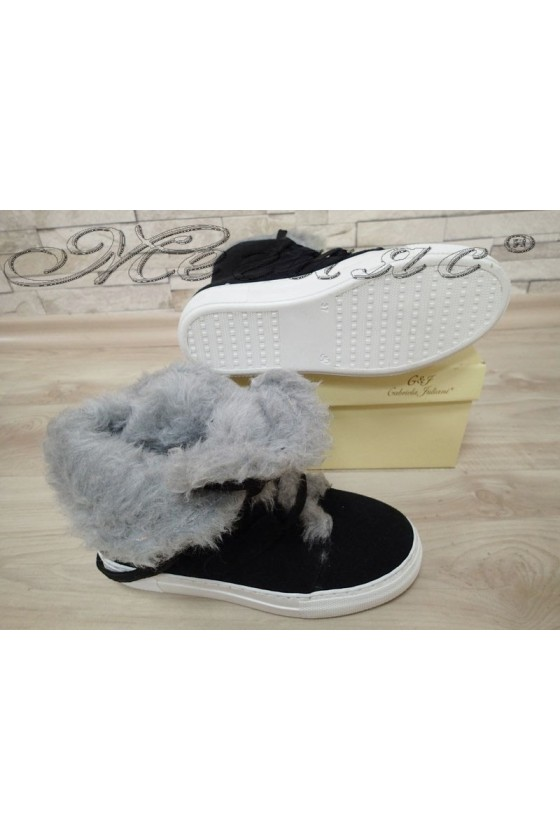 Lady boots Sens-2000 black - white suede
