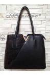 Дамска чанта 1537 черна естествена кожа