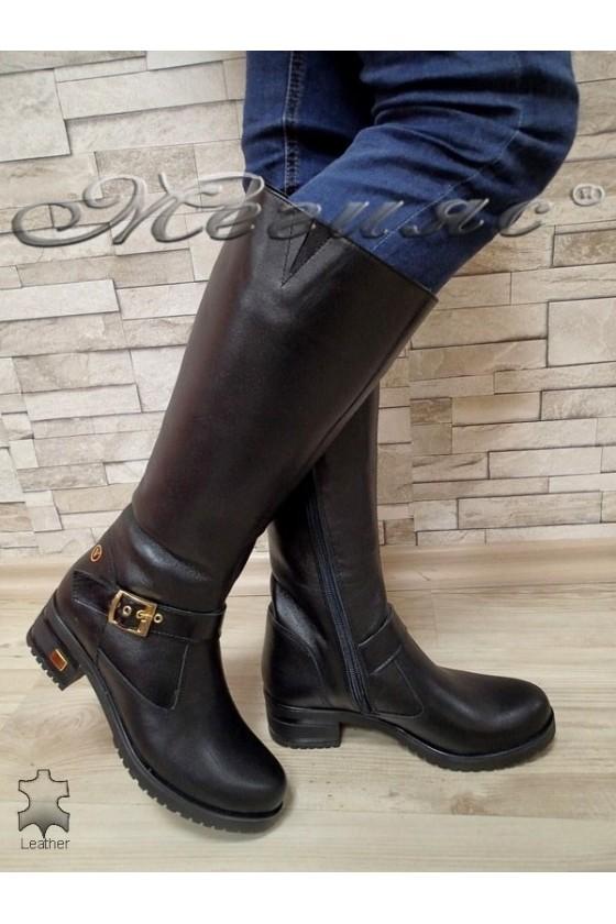 Дамски ботуши 2000 черни от естествена кожа