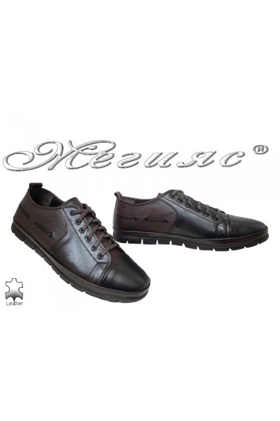 Мъжки обувки XXL 495 гигант черни с кафяво от естествена кожа