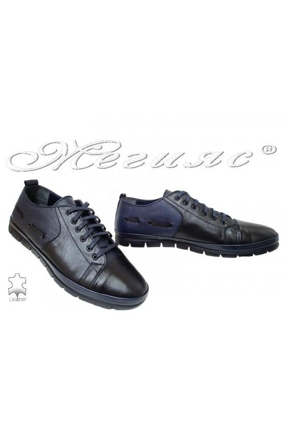 Мъжки обувки XXL 495 гигант черни със синьо от естествена кожа