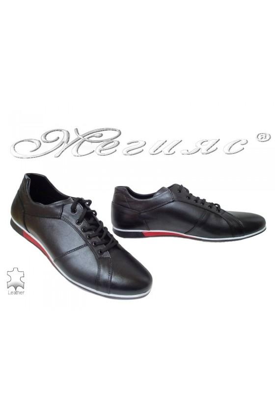 Мъжки обувки Фантазия 5002 черни с бяла подметка от естествена кожа