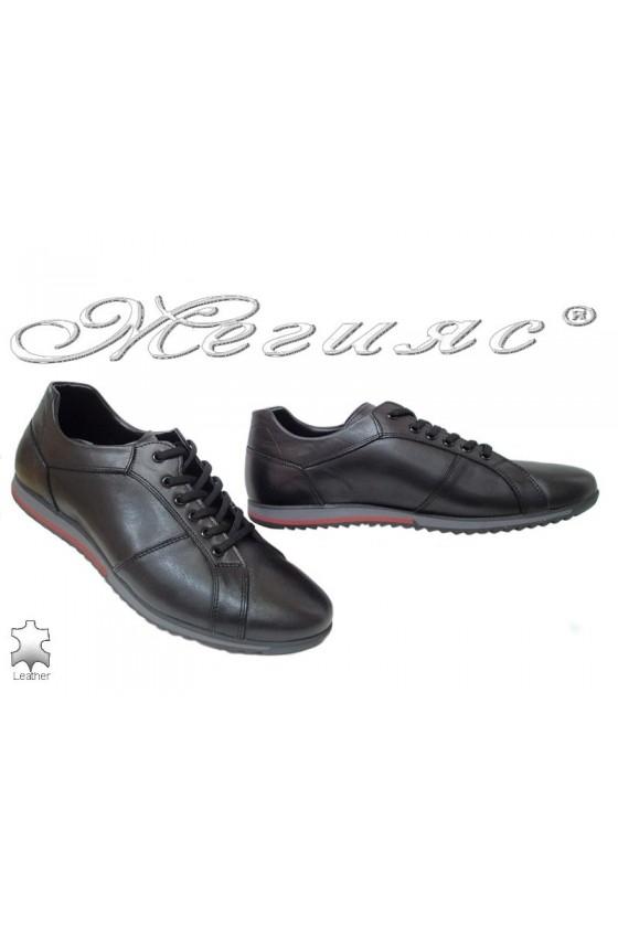 Мъжки обувки Фантазия 5002 черни със сива подметка от естествена кожа