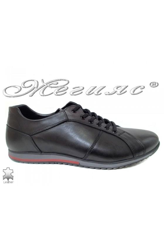 Мъжки обувки от естествена кожа черни  Фантазия 5002