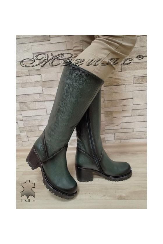 Дамски ботуши 50/4350 зелени от естествена кожа
