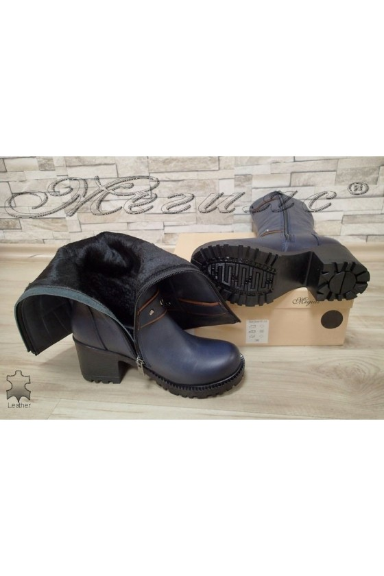 Lady boots 802 dark blue leather
