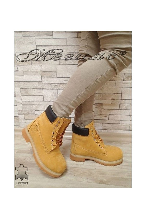 Lady boots 02 yellow leather
