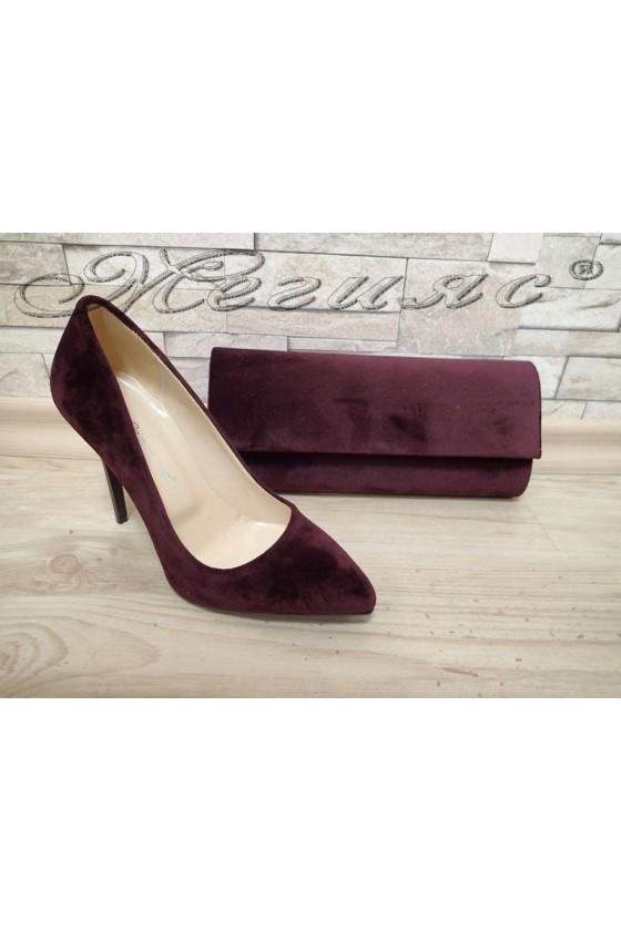 Комплект обувки 5596 бордо кадифе с чанта 373