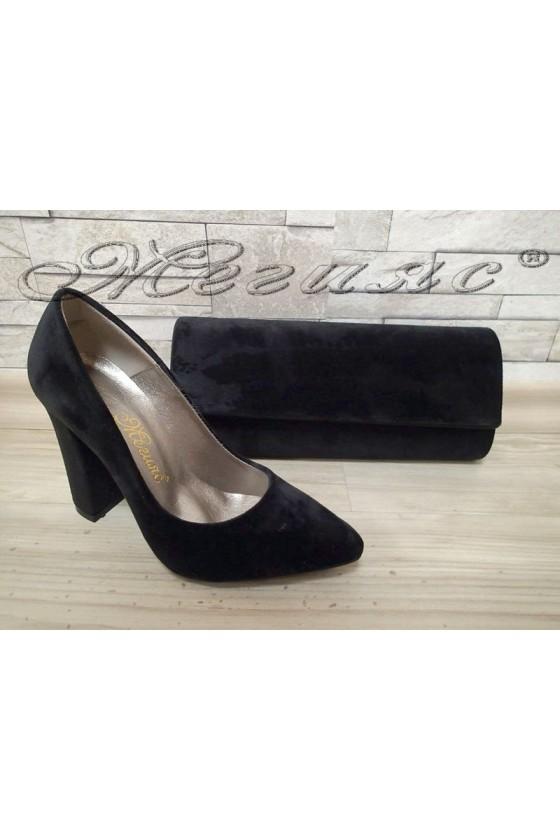 Lady elegant shoes 542 black velvet with bag 373