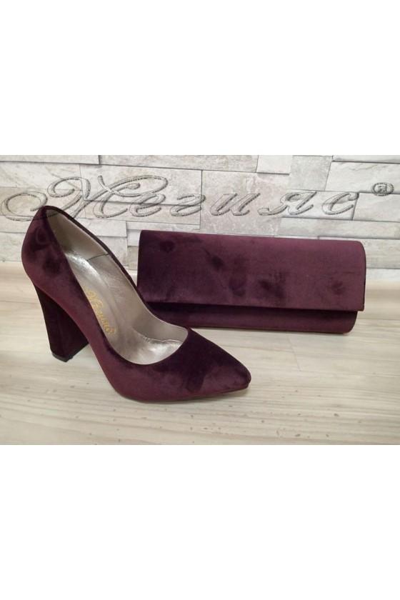 Lady elegant shoes 542 bordo velvet with bag 373