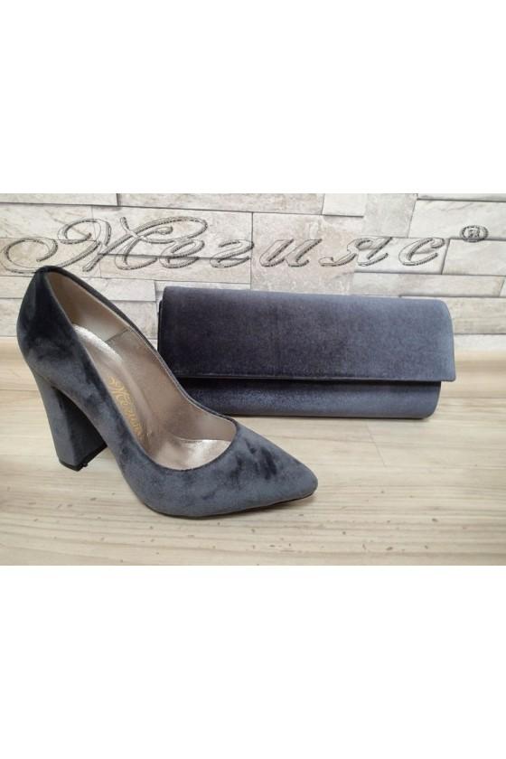 Lady elegant shoes 542 grey velvet with bag 373