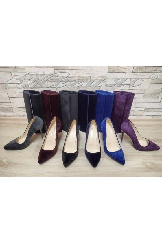 Lady elegant shoes 5596 wine velvet with bag 373