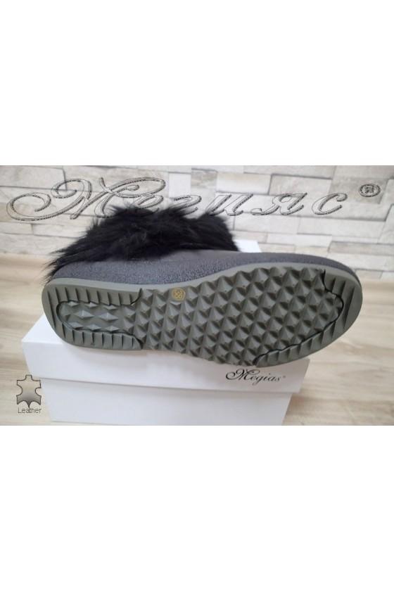 Дамски апрески черни естествена кожа+естествен пух fur 222