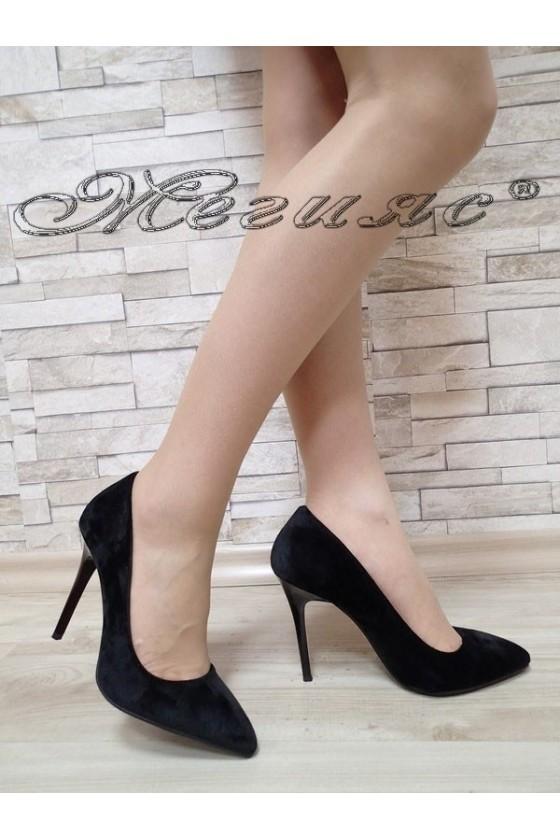 Women elegant shoes 5596 black velvet with high heel