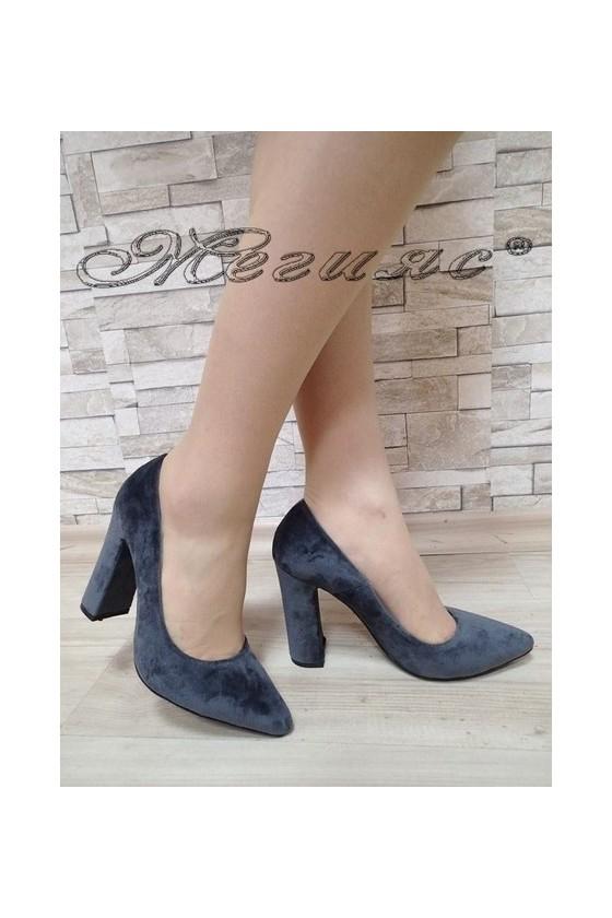 Дамски обувки 542 тъмно сиви кадифе елегантни с висок ток