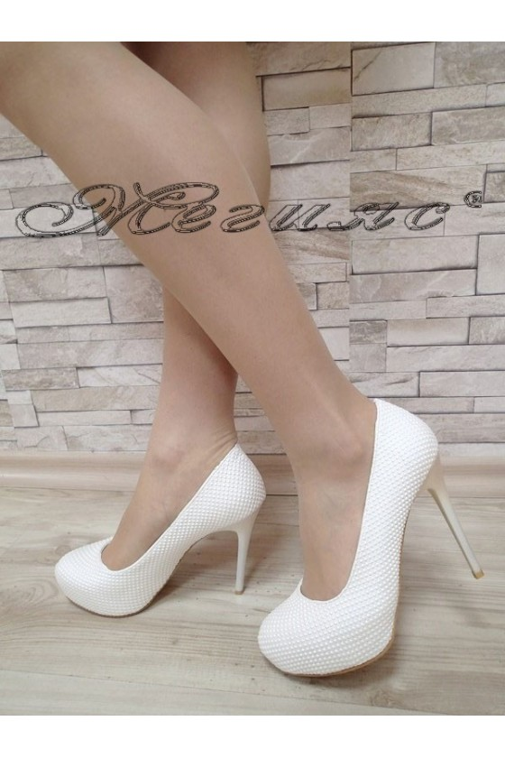 Women elegant shoes 019 white pu with high heel