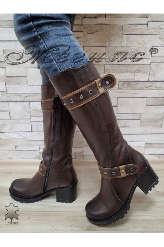 Lady boots 802 brown leather