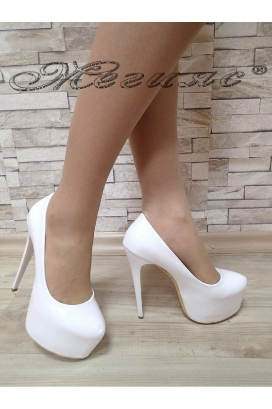 Women elegant shoes 50 white patent with high heel