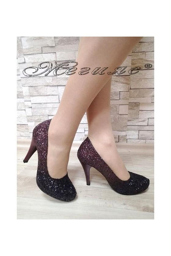 Дамски обувки 15-К брокат бордо с черно заоблени с висок ток