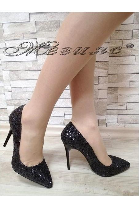 Дамски обувки 5596 брокат черни елегантни висок ток
