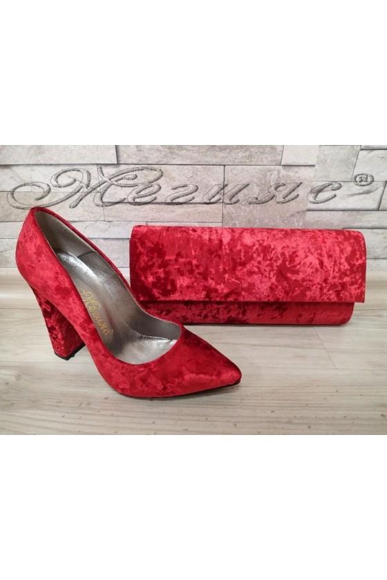 Lady elegant shoes 542 red velvet with bag 373