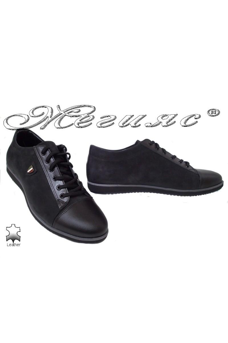 Men's shoes 18201 black leather