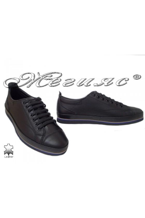 Мъжки обувки естествена кожа черни Фантазия