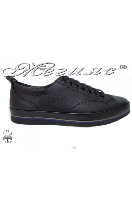 Men's shoes 062-80 black leather