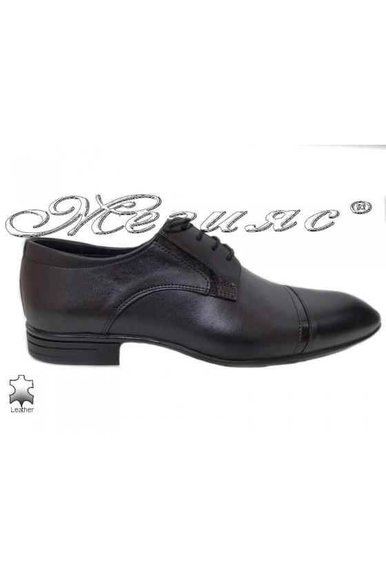 Мъжки обувки черни естествена кожа елегантни Фантазия 16009