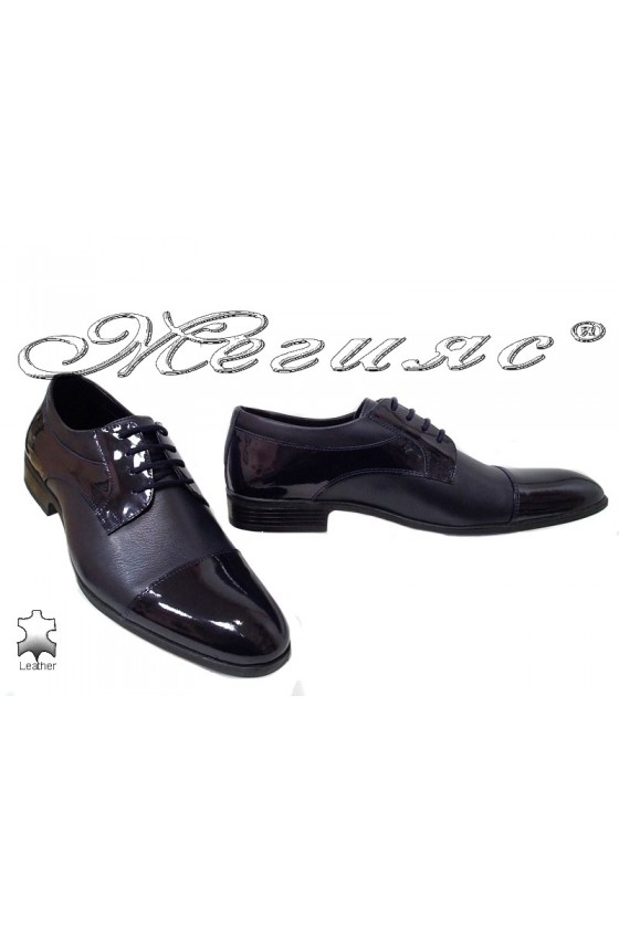 Men elegant shoes 18020 blue leather