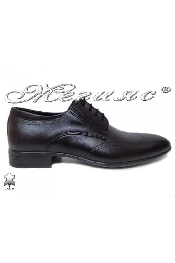 Men elegant shoes 18004-224 black leather