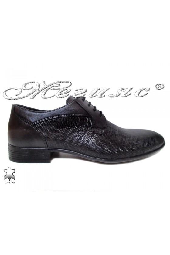 Men elegant shoes 18003-224 black leather