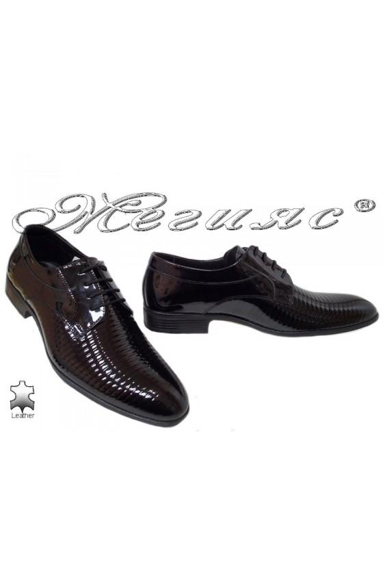 Men elegant shoes 18021 black leather