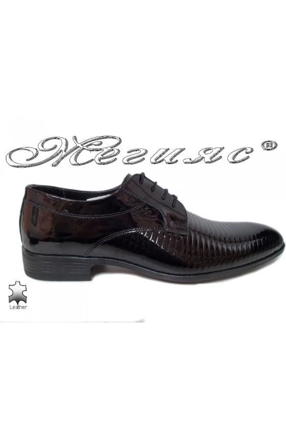 Мъжки обувки  черни естествен лак елегантни Фантазия 18021-219