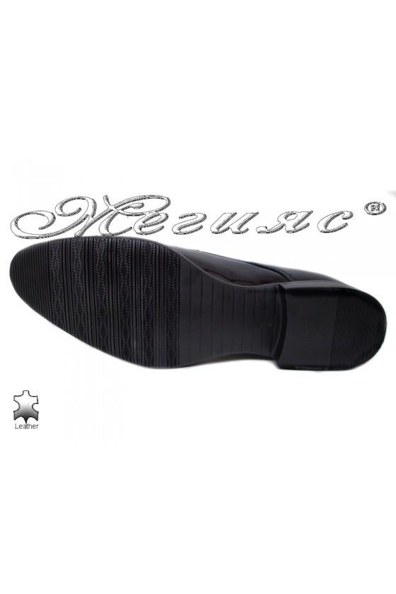 Men elegant shoes 18021-219 black leather