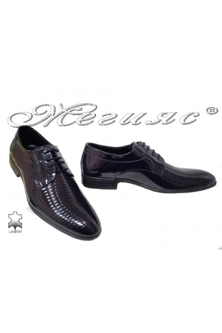 Men elegant shoes 18021-219 blue leather