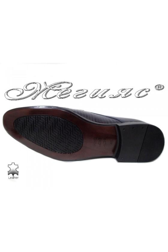 Men elegant shoes 18021-219 blue leather