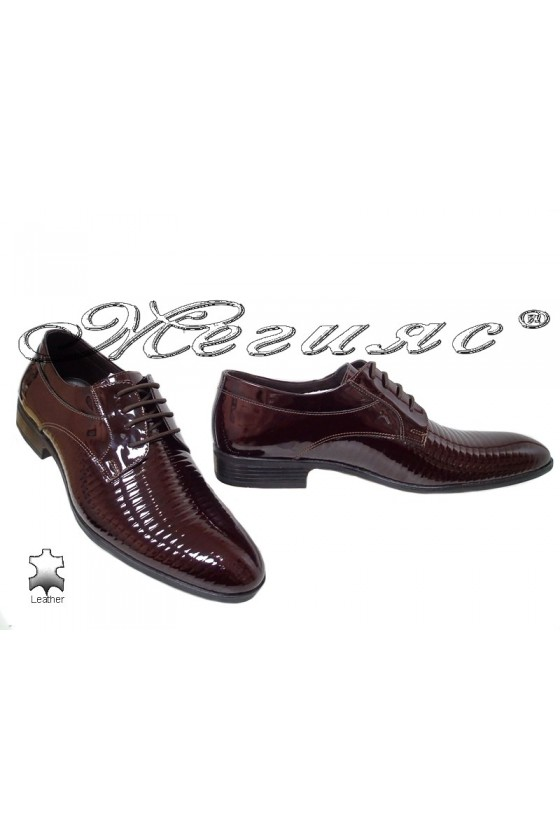 Men elegant shoes 18021-219 bordo leather