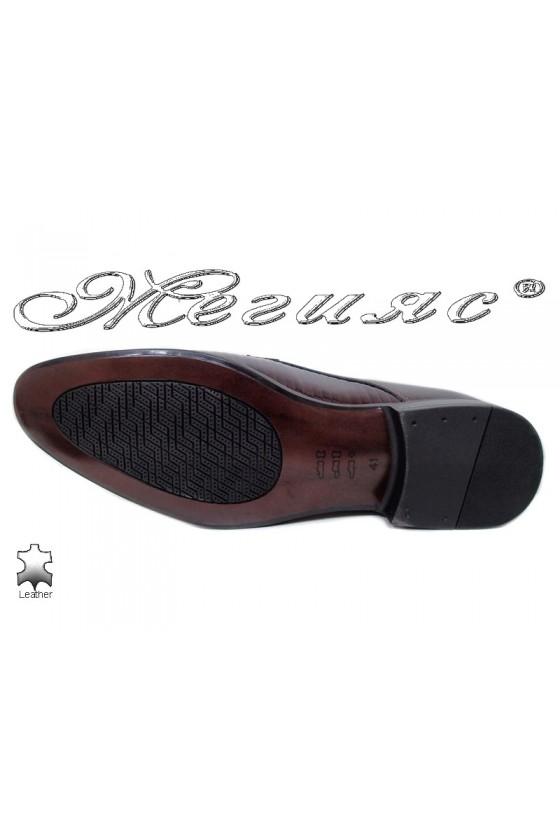 Мъжки обувки бордо естествен лак елегантни 18021-219