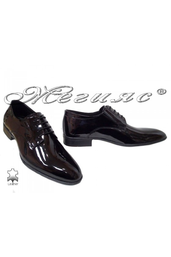 Men elegant shoes 18141 black leather